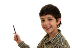 Pointing smiling boy Royalty Free Stock Photography