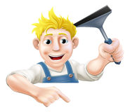 Pointing Squeegee Window Cleaner Royalty Free Stock Photo