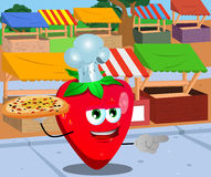 Pointing strawberry chef with pizza on the market Royalty Free Stock Photo