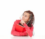 Pointing student girl with african plaits and book Royalty Free Stock Photos
