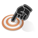 Pointing target. Draw of finger pointing target center Royalty Free Stock Photo
