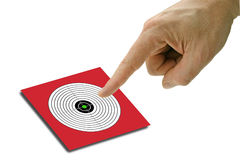 Pointing on target. Target with pointing finger on white background,see also my other images of targets Stock Images