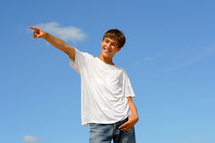 Pointing teenager Royalty Free Stock Photos