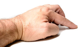 Pointing thumb male finger hand Royalty Free Stock Photography