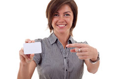 Pointing To A Blank Card Stock Photos