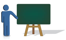 Pointing To An Empty Chalkboard Royalty Free Stock Image