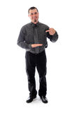 Pointing to blank product. Man in shirt and tie Royalty Free Stock Photo