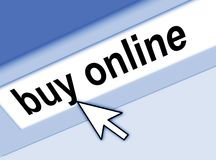 Pointing to buy online. Graphic of address bar on computer with cursor arrow, pointing to BUY ONLINE royalty free illustration