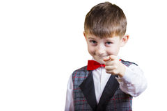 Pointing to camera funny little boy Stock Image