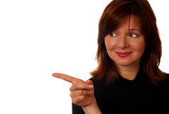 Pointing To Copyspace. Woman With Copyspace Stock Photography