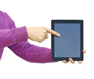 pointing to an ipad Royalty Free Stock Photography