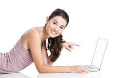 Pointing to a laptop Royalty Free Stock Photography