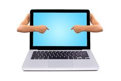 Pointing to a laptop screen Stock Photo