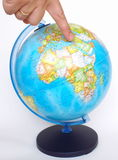 Pointing to middle east. Globe, Pointing to middle east Royalty Free Stock Images