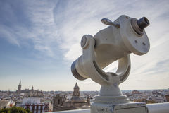 Pointing to old town landmarks, Seville Stock Photos