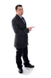 Pointing to the right. Man in suit Stock Photography