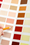 Pointing to sample color chart Stock Photos