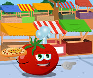 Pointing tomato chef with pizza on the market Royalty Free Stock Photos