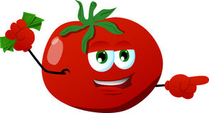 Pointing tomato with money in his other hand Royalty Free Stock Images