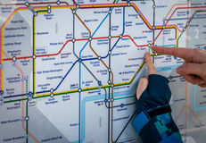 Pointing at a Tube map Stock Photos