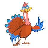 Pointing Turkey Cartoon A cartoon turkey points at your message. EPS 8 vector royalty free stock photos