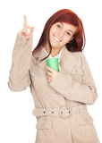 Pointing up teenage girl Stock Photos
