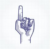 Pointing Upwards. Hand drawing of a hand closing pointing upwards on graph paper Stock Image