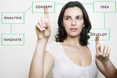 Pointing on a virtual screen Royalty Free Stock Images