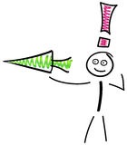 Pointing the way. Stick figure with arrow and exclamation mark on white background Royalty Free Stock Image