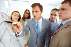 Pointing at whiteboard Royalty Free Stock Images