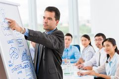 Pointing at the whiteboard Royalty Free Stock Photo