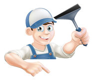 Pointing Window Cleaner Stock Photography