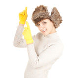 Pointing winter woman Stock Photography