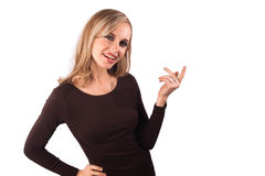 Pointing woman Royalty Free Stock Photo