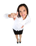 Pointing woman. Attractive smiling woman pointing directly Royalty Free Stock Image