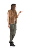 Pointing Woman Full Length Profile Isolated Stock Photos