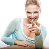 Pointing woman Stock Images