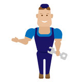 Pointing worker Royalty Free Stock Image