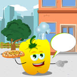 Pointing yellow bell pepper chef with pizza in the city with speech bubble Royalty Free Stock Photos