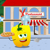Pointing yellow bell pepper chef with pizza in front of a restaurant Stock Images