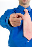 Pointing at You. A metaphorical image of a businessman in a blue shirt pointing his finger at you Royalty Free Stock Photo