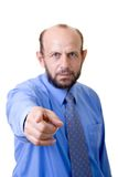 Pointing at you!. Man in a tie pointing at you, focused on hand, face and body out of focus Stock Images