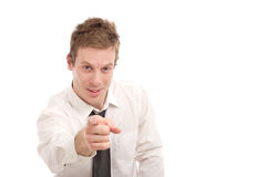 Pointing at you. Young business man pointing at you Royalty Free Stock Photo