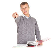 Pointing you angry male student Royalty Free Stock Photo