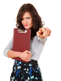 Pointing you angry young woman with clipboard Royalty Free Stock Image