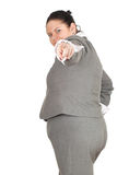 Pointing you overweight, fat businesswoman stock images