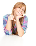 Pointing you smiling beautiful girl Royalty Free Stock Photo