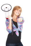 Pointing you teenage girl keeping megaphone Royalty Free Stock Photo