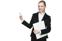 Pointing young businesswoman Stock Photo