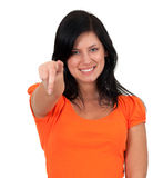 Pointing young woman Stock Photography